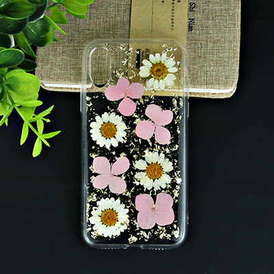 real flower case with dripping glue