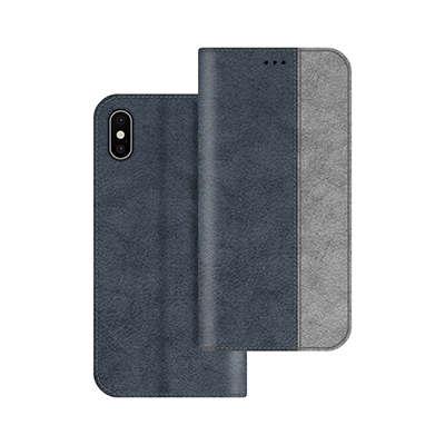 dark blue litchi pattern pu leather case