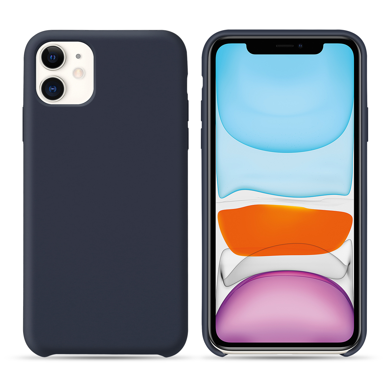 dark blue silicone case for iphone 11