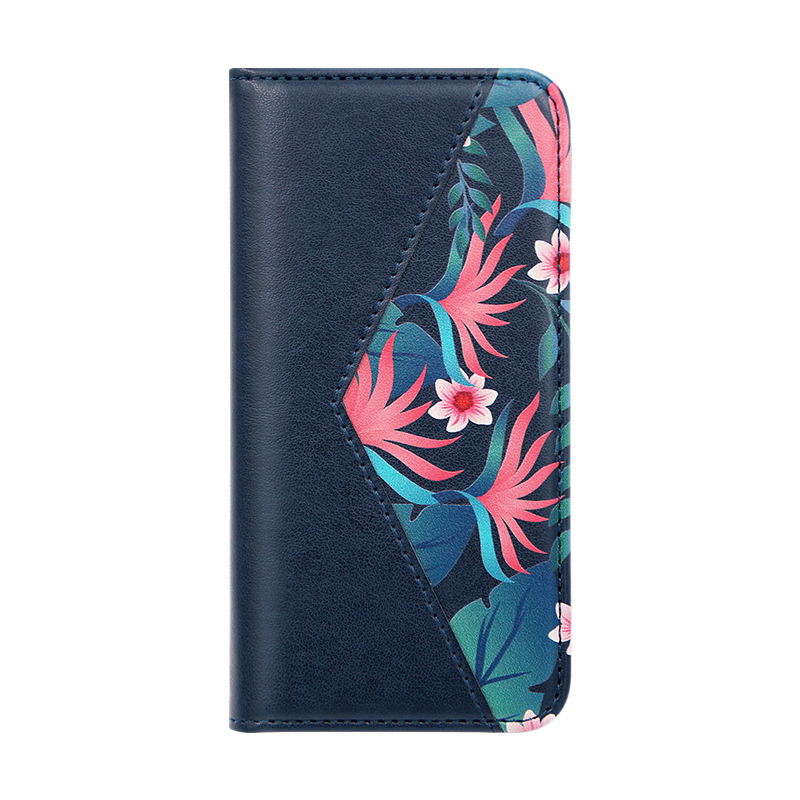dark blue PU leather folio case