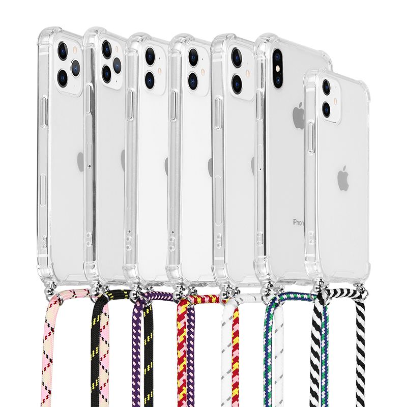 transparent phone case with hanging rope