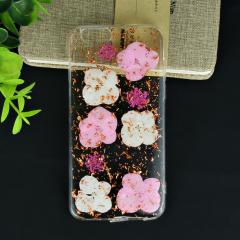 Real flower drop glue design phone case