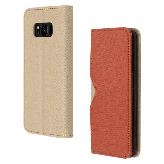 color matching pu leather phone case with outer card slot