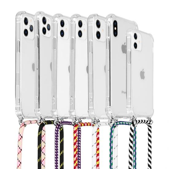 Clear case with colors hanging strap for iphone 11